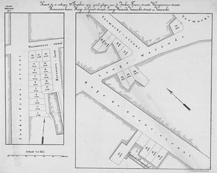 II-136A Kaart, in twee delen, van te verkopen grondpercelen aan de Jonker Fransstraat, de Warmoeziersstraat, ...