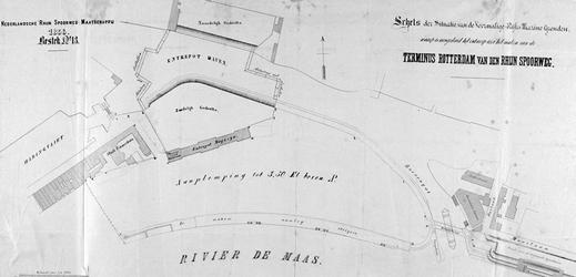 II-151 Kaart van het terrein van de voormalige Marinewerf, waar het Maasstation is gepland, het eindstation van de ...