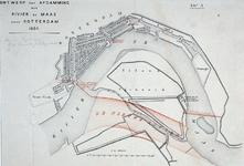 II-169 Kaart van de Nieuwe Maas van het Mallegat (Feijenoord) tot en met Delfshaven met geprojecteerde afsluitdijken, ...