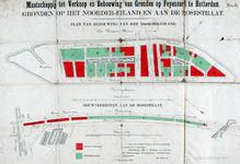 II-181-01-01 Kaart met plattegronden van bouwterreinen op het Noordereiland en aan de Rosestraat