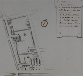 II-2 Platttegrond van een terrein gelegen tussen de Botersloot, de Kipstraat, Korte Pannekoekstraat, Halstraat en ...