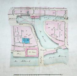 II-21 Plattegrond van het gebied tussen de Grotemarkt en de Blaak en Oudehaven, met daarop aangegeven een ...