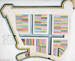 II-32 Plattegrond van percelen ten westen van de Leuvehaven die op 19 en 20 april 1612 zijn verkocht. Het gebied wordt ...