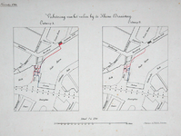 II-38 Twee ontwerpen (A en B) voor verbetering van de verkeerscirculatie bij de Kleine Draaisteeg