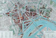 II-47-05 Kaart van het centrum van Rotterdam van voor mei 1940 met het plan voor de nieuwe stadskern