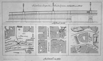 II-5,-II-19-EN-II-41 Tekening van het kadefront langs de Oudehaven en plattegronden van het Van Hogendorpsplein, het ...