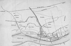 II-69 Kaart van de gemeente Delfshaven met de geprojecteerde spoorlijn van Schiedam over de Ruige Plaat naar een ...