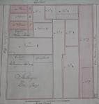 II-7 Plattegrond van percelen gelegen tussen de Kipsloot [Achterkloostergracht], de Oudevrouwenhuissteeg, de Hoogstraat ...