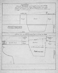 II-8 Plantekening voor de reconstructie van de Melkmarkt en de Boerenvischmarkt c.a. Getekend zijn de situatie in 1694 ...
