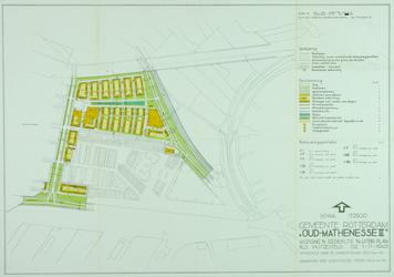 II-99-02-01-01 Kaart van het uitbreidingsplan Oud-Mathenesse II. Het afgebeelde gebied wordt begrensd door de ...