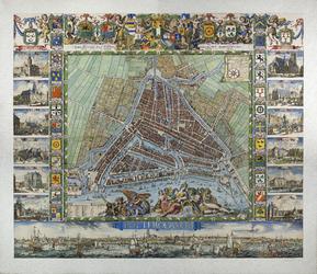 KT-3083 Wandkaart. Plattegrond van Rotterdam (Stadsdriehoek). Rechtsboven opdracht aan burgemeesters en kompasroos; ...