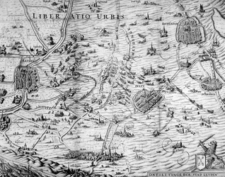 RI-1237 Kaart van de ontzetting van Leiden en het geïnundeerde gebied tussen Rotterdam en Leiden. Het weergegeven ...