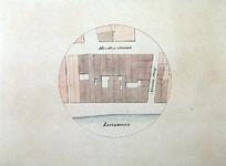 RI-1580 Plattegrondkaartje van door de brand van 13 mei 1849 verbrande of beschadigde gebouwen, aan de Leuvehaven, ...