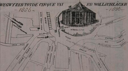 RI-1612 Routekaartje naar het cirque equestre van Ed. Wollschläger bij het Weenaplein [reclamebiljet]