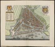 RI-21-1 Plattegrond van Rotterdam. Linksboven wapen van Holland met daaronder namen van straten en gebouwen (t - 46); ...