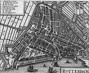 RI-23 Plattegrond van Rotterdam, `stadsdriehoek'; linksbover legenda (nrs. 1 tm 8), rechtsboven wapen van Rotterdam, ...