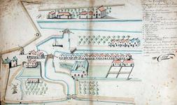 RI-243 Kopie van een plattegrond van het oostelijkste deel van Rotterdam tussen de Maas en de Vest, van de Oostpoort af ...