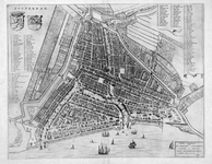 RI-26 Plattegrond van Rotterdam, `stadsdriehoek', titel en linksboven wapens van Holland en Rotterdam; links- en ...