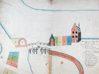 RI-303 Kopie van een plattegrond van de percelen bij de Blauwe Toren en de Kleine Draaibrug aan het einde van de Hoofdsteeg.