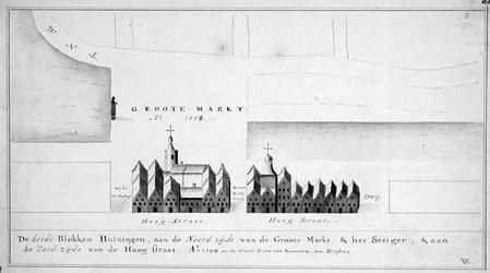 RI-324 Huizenblokken de noordzijde van de Grotemarkt en het Steiger en aan de zuidzijde van de Hoogstraat. Detail van ...