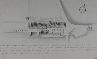 RI-339 Afbeelding van de Beurs bij de Gapersbrug, anno 1730