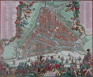 RI-36 Plattegrond van Rotterdam. Stadsplattegrond met links, rechts en onder weelderige versieringen met o.a. ...
