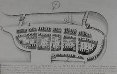 RI-375 Afbeelding van het huizenblok tussen de Grotemarkt (onder) en de Blaak (boven) , gebaseerd op de plattegrond van ...