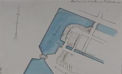 RI-379 Plattegrond van de percelen aan de kromme Hang bij de zeevismarkt en de uitmonding van de Zijl in de Leuve.