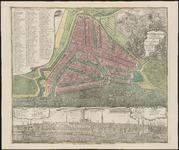 RI-37a Plattegrond van Rotterdam met daaronder een prospect van de stad.