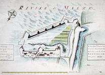 RI-381 Plattegrond van het zuidwestelijke deel van de stadsdriehoek, gebaseerd op de kaart van H. Haestens van 1599.