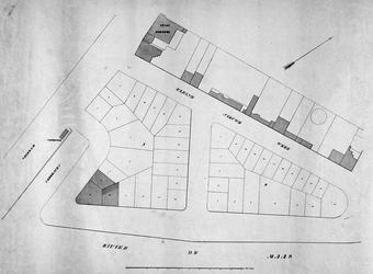 RI-411-3 Plattegrond van 45 uitgegeven percelen aan het eerste Nieuwewerk, tussen de Leuvehaven en de Veerdam, de ...