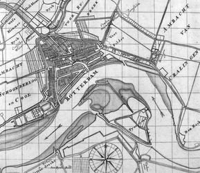 RI-42 Kaart van Rotterdam en omstreken en de Nieuwe Maas met weergave van de aanwassen aan beide zijden van de rivier.