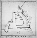 RI-447 Plattegrond van het Buizengat [ter plaatse van het huidige Boerengat] in het jaar 1591