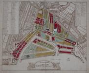 RI-48 Plattegrond van Rotterdam waarop in kleuren de wijkindeling is aangegeven.