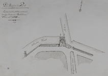 RI-488 Plattegrond waarop de ligging van de Delftsche Poort en de stadsmuren zijn aangegeven.