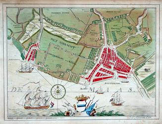 RI-49 Kaart van Rotterdam en omgeving, waarop onder meer is afgebeeld: het Ambacht van Schoonderloo en Cool, ...