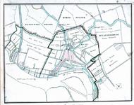 RI-54 Plattegrond van Rotterdam en omgeving met daarop aangegeven de grenzen tussen Rotterdam en Kralingen, ...