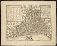 RI-55-1 Plattegrond van Rotterdam. Rechts boven inzetkaart met wijde omgeving van Rotterdam (ongeveer de latere ...