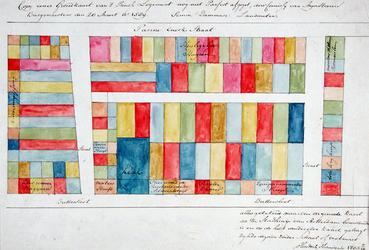 RI-657 Kopie van een plattegrond van grondpercelen op het terrein van het voormalige Prinsenhof tussen de ...