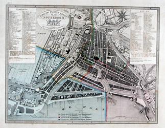 RI-69 Plattegrond van Rotterdam met daarop ingetekend de parochiale indeling
