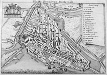 RI-7 Historiekaart, reconstructie van de plattegrond van Rotterdam anno 1488 tijdens de Jonker Fransenoorlog. Links ...