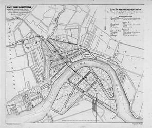 RI-74-1 Plattegrond van Rotterdam met daarop aangegeven de geprojecteerde staatsspoorweg en de geprojecteerde ...