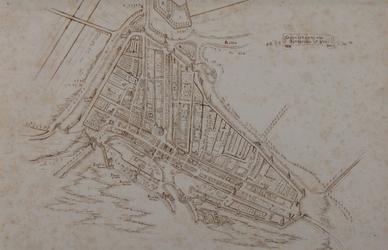 RI-8 Reconstructie plattegrond van Rotterdam, omstreeks 1500