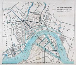 RI-80 Kaart van Rotterdam met twee mogelijke tracés voor de aan te leggen spoorwegverbinding met Dordrecht