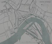 RI-82-m Kaart met het tracé van de spoorweg door Rotterdam, waarop de werkzaamheden uitgevoerd door het Rijk en de ...