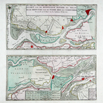RI-89 Kaart, verdeeld in twee vakken, van de Maas en de Merwede van de Noordzee tot Gorinchem. Inzetkaartje: de Merwede ...
