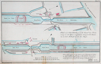 RI-90G Kaart van schutsluizen en ontwerp van sluishoofden in het Kanaal door Voorne bij Nieuwesluis en Hellevoetsluis.