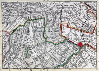 RISCH-188 Kaart van het veen- en plassengebied in de omgeving van Benthuizen, Boskoop en Bodegraven, Waddinxveen, ...