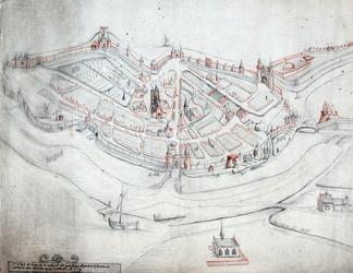 RISCH-190 Plattegrond van de stad Gouda anno 1500
