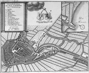 RISCH-240 Kaart van de stad Schiedam. Inzetkaartje: de monding van de haven in de Nieuwe Maas